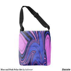 Cool purple color mix - Blue and Pink Polar Art Crossbody Bag  50% off