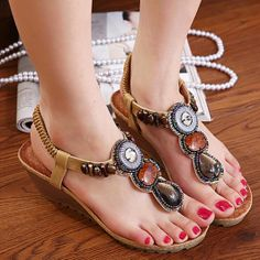 Bohemia Women's Sandals With Wedge and Beading Design $14.18