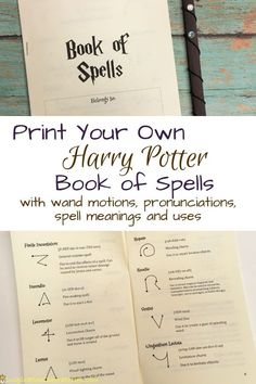 Print your own Harry Potter Book of Spells complete with wand motions, pronunciations, spell meanings, and uses. A spell book is a great addition to a Harry Potter party and take home gift for party guests. potter diy gift DIY Harry Potter Book of Spells