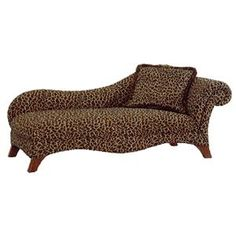 Chaise lounge fainting couch leopard print sofa with for Animal print chaise