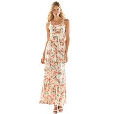 LC Lauren Conrad Floral Crochet Maxi Dress - Women's