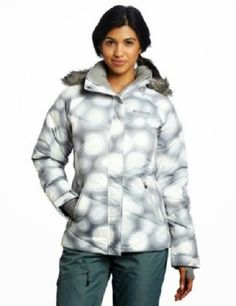 Women's COLUMBIA Dark Grey/White Large Dots Lay 'D' Down Ski Jacket.