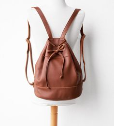 Leather Drawstring Backpack in Cognac Brown by morelle