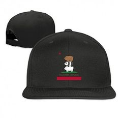 Black NORAL Flat Billed Baseball California Flag With Three Bear Caps Hat Black