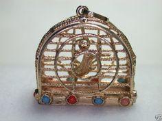 Antique Art Deco Bird Cage Charm 14k Turquoise Coral Pearls Vintage Estate RARE   eBay