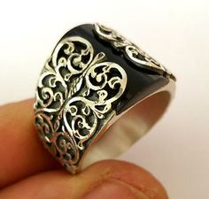 Unique, Hand Carved, 925 S.Silver Black Onyx Stone Men's Ring Sz 9.5 us #0642  | eBay