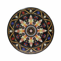 "36"" Black Big Marble Round Dining Table Top Mosaic Marquetry Art Handmade decor #Handmade #ArtsCraftsMissionStyle"