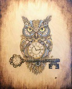 Clockwork Owl Woodburning by Scorchworks on DeviantArt Steampunk Drawing, Art Steampunk, Steampunk Animals, Steampunk Makeup, Steampunk Bedroom, Steampunk Furniture, Steampunk Gadgets, Steampunk Crafts, Steampunk Wedding