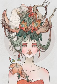 hair (snakes instead of twigs, owl instead of parakeet) including flowers on shoulder!