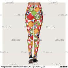 Penguins and Snowflake Circles, Christmas Leggings