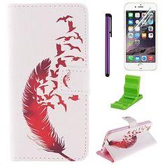 el patrón de la pluma de pájaro caja de cuero de la PU con el protector de pantalla y lápiz óptico para el iphone 6 – EUR € 8.63