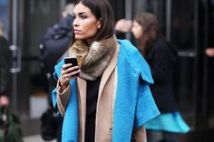 This aqua coat--gorgeous! Love the taupe, black and faux fur layers. Autumn chic.