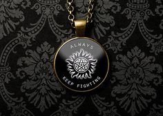 Always Keep Fighting Necklace, Always Keep Fighting Ring, Jared Padalecki, Supernatural, Supernatural Show, Inspirational Necklace