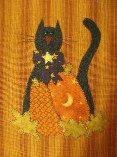 Fall Cat Tea Towel Applique Pattern PDF From by quiltdoodledesigns, $2.00