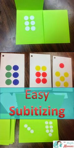 Great visual for teaching subitizing. DIY Subitizing Cards and Double Flap Cards.