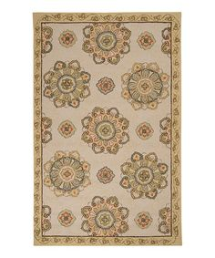Take a look at this Tan Rain Ornate Flower Indoor/Outdoor Rug by Surya on #zulily today!