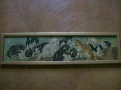 YARD LONG Print  KITTENS Framed Picture by buckeyeantiques on Etsy, $250.00