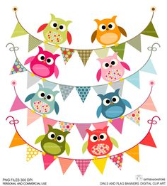 Owls and flag banners DIGITAL CLIP ART for Personal and Commercial use. $2.00, via Etsy.