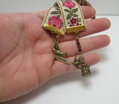 Victorian Flowers Ribbon Bookmark Vintage Cloth by WhispySnowAngel, $10.00