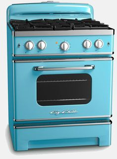 Our new Big Chill stove combines the iconic look of a 50′s style retro range with all the modern amenities of a modern unit. Purchase through authorized dealers around the country or order directly through Big Chill. Comes in an awesome range of colours including red, orange, pink, mint and aqua. I love the fifties!!!!! :)
