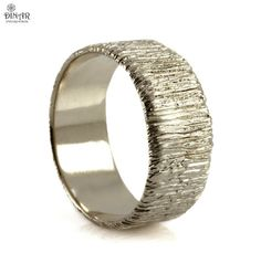 Silver men's Textured wedding band rustic Wood by DINARsilver