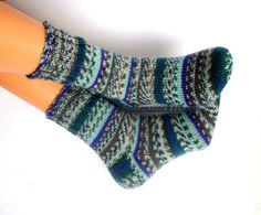 Hand knitted socks.Warm and stylish socks from special sock yarn.Socks for all seasons.Gift idea.Gren,blue,gray,multicolored sock yarn.