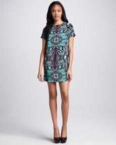 Amanda Uprichard Printed Silk Shift Dress