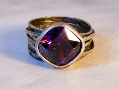 Vintage Sterling Chunky Iolite Faceted Ring           5.43 Ct.    Size 8   Israel by GemstoneCowboy on Etsy