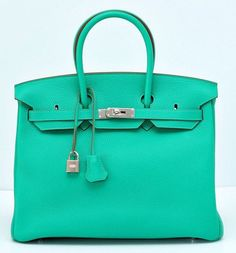 Hermes Menthe Clemence 35cm Birkin Bag