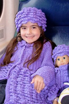 Sweater crochet Coat and Hat set for Child and Doll. $600.00, via Etsy.