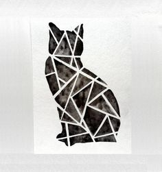 Geometric Black Cat Original Watercolor Painting by prettyinc, $25.00