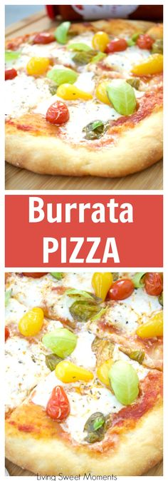 This delicious burrata pizza recipe is made with homemade pizza dough and is topped with sauce, summer tomatoes, and burrata cheese. Great for entertaining! #ad #TheStoryOfSauce