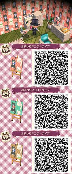 Animal Crossing New Leaf wallpaper pattern with Sitting Cats in various colors ACNL