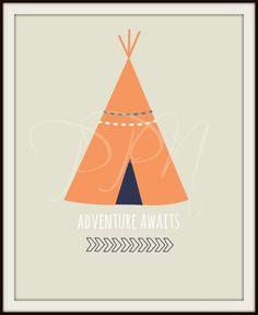 Adventure Awaits Nursery Teepee Arrow Art Print, quote print wall art decor - 8x10 on Etsy, $15.00