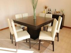 Wonderful Square Dining Table for 8 for Big Family : Simple And Fresh Square Dining Table For 8 White Leather Seats