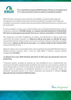Oltenia se află pe locul IV într-o statistică a companiei KRUK România, în ceea ce privește numărul și valoarea creanțelor procesate