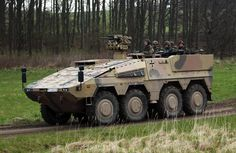 A Boxer armoured personnel carrier of the Bundeswehr German armed forces participates in military presentation for Representatives of the OSCE (Organization for Security and Co-operation in Europe) at the military training ground on April 25, 2012 in Putlos, Germany.