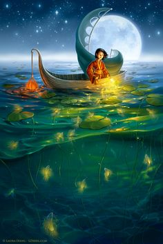 She sailed right by the blue moon as the golden fish caught her eye....Golden Fish  by *ldiehl
