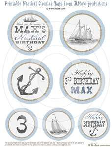 Nautical Party - Sailboat, Anchor, Vintage Style Printable Circular ...