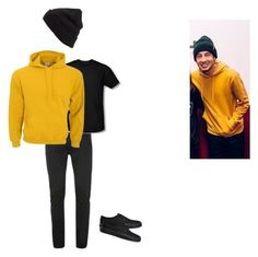 """tyler joseph - yellow hoodie outfit"" by twenty-one-pilots-outfits on Polyvore featuring BP. and Vans"