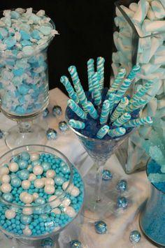 Got the Blues Candy Buffet how cute for a baby boy shower Blue Candy Buffet, Candy Table, Frozen Birthday Party, Frozen Party, Baby Shower Themes, Baby Boy Shower, Shower Ideas, Cinderella Sweet 16, Bar A Bonbon