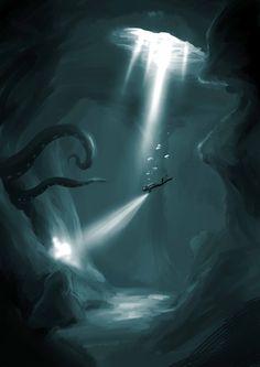 Kraken fantasy adventure monster - watch out diver! Cthulhu, Fantasy Creatures, Mythical Creatures, Sea Creatures, Fantasy World, Fantasy Art, Digital Art Illustration, Le Kraken, Kraken Art
