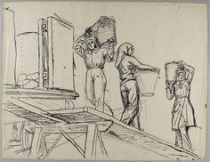 Cafus portant le charbon à Denain.  Jean Amblard, 1947.
