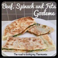 Beef, Spinach and Feta Gozleme Recipe Main Dishes with yeast, flour, olive oil, water, salt, baby spinach leaves, feta cheese, minced beef, onions, garlic cloves, olive oil, ground cumin, paprika, cayenne pepper, tomato paste, stock, pepper