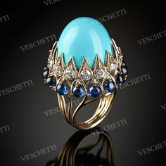 Persia ring with turquoise, sapphires and diamonds IMPERIAL. Gorgeous