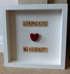 Scrabble Tile Personalised Name Frame Valentines Day Wedding Day Gift Engagment