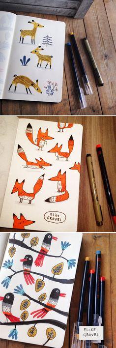Elise Gravel illustration • sketchbook • doodles • sketch • fox • illustration • birds • deer • cute • drawing • art • nature • animals: