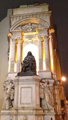 Molière statue on the Fontaine Molière, corner of Rue de Richelieu and Rue Molière in Paris