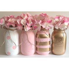 Pink Mason Jars, Mason Jar Diy, Mason Jar Crafts, Bottle Crafts, Glitter Mason Jars, Pink Und Gold, Gold Gold, Table Rose, Gold Centerpieces