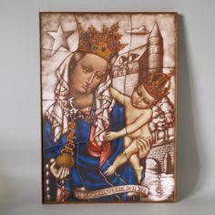 Opaline Glass Icon H38cm, Our Lady Star of the Sea, Stella Maris, Art Deco Handcrafted Stained Glass, Van Paridon Catholic Art Catholic Art, Religious Art, Holding Baby, Glass Artwork, Spiritual Gifts, Opaline, Our Lady, Stained Glass, Vibrant Colors
